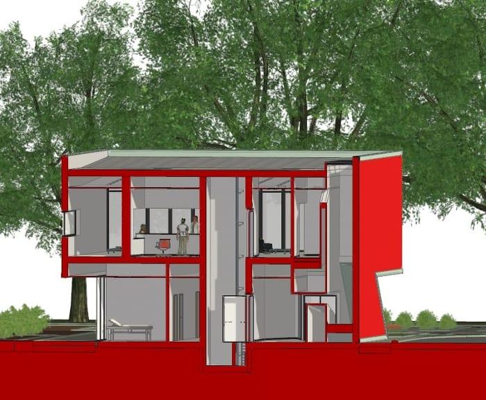 Harvey Pédiatrie Clinique - coupe axonométrique de Edificius - logiciel BIM pour architecture