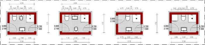 salle de bain :dispsition opposée avec fenetre - Edificius - logiciel BIM