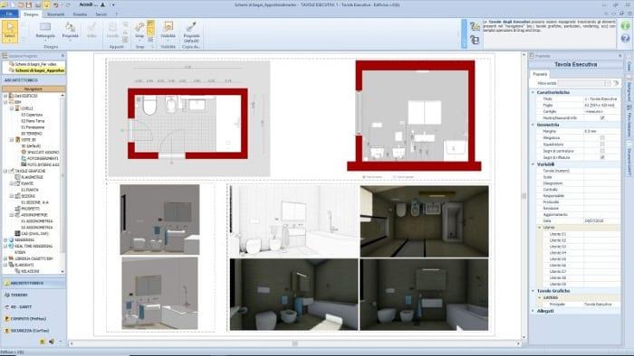comment concevoir une salle de bain -interface du programme Edificius -logiciel BIM 3D d'architecture
