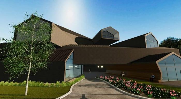 conception de musée -VitraHaus - le rendu de l'entrée - logiciel BIM d'architecture Edificius