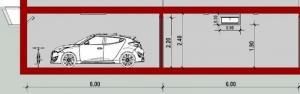 Garage - coupe C-C - conception d'un garage -logiciel BIM Edificius