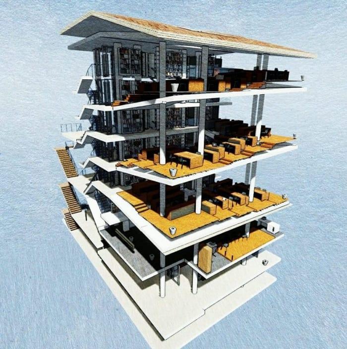 Rendu d'ébauche panoramique -conception d'une bibliothèque - logiciel BIM architecture Edificius