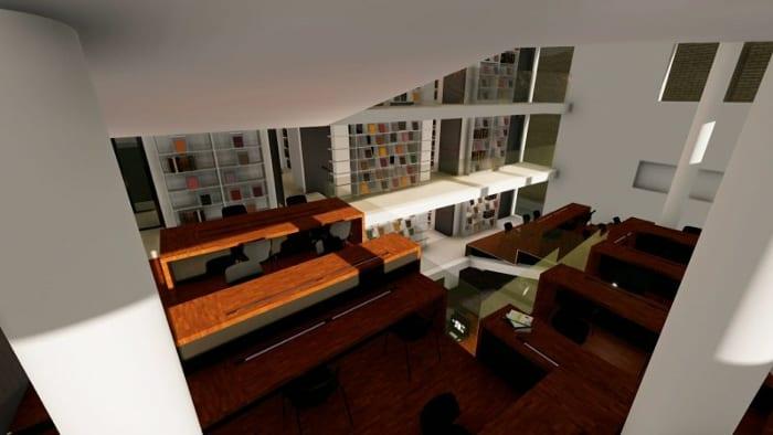Rendu de la salle de lecture - conception d'une bibliothèque -logiciel BIM architecture Edificius