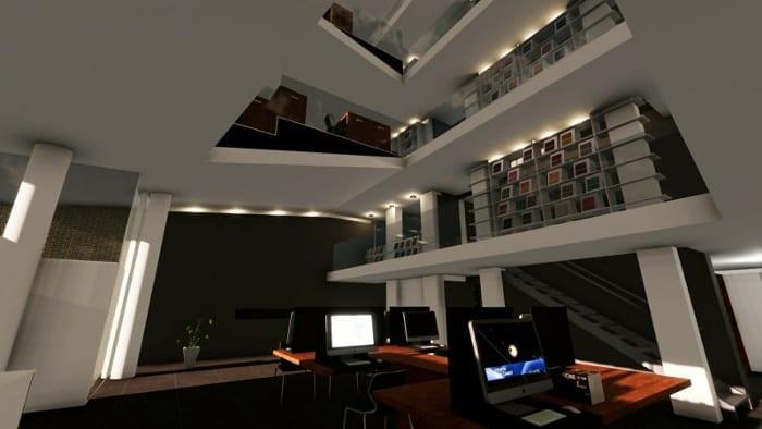 Rendu de la salle de travail : image des effets des différents éclairages- conception d'une bibliothèque issue du ogiciel BIM Edificius