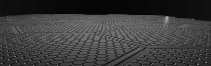 Exemple de panneaux avec calepinage pour route solaire