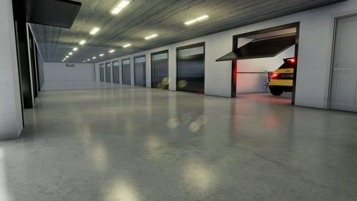 rendu de l'accès au garage - conception d'un garage -logiciel BIM Edificius