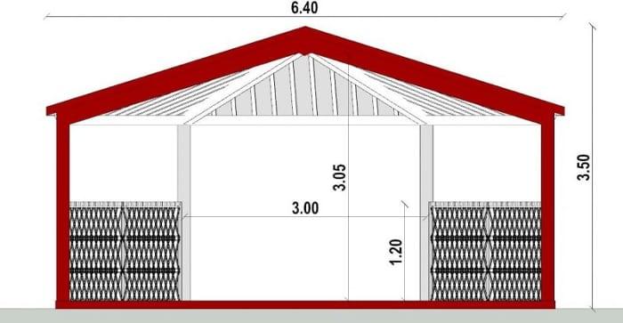 Conception d'un gazébo - vue en coupe du gazébo issu du logiciel BIM architecture Edificius