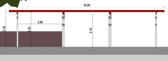 Conception d'un gazébo - vue en coupe d'une pergola issu du logiciel BIM architecture Edificius