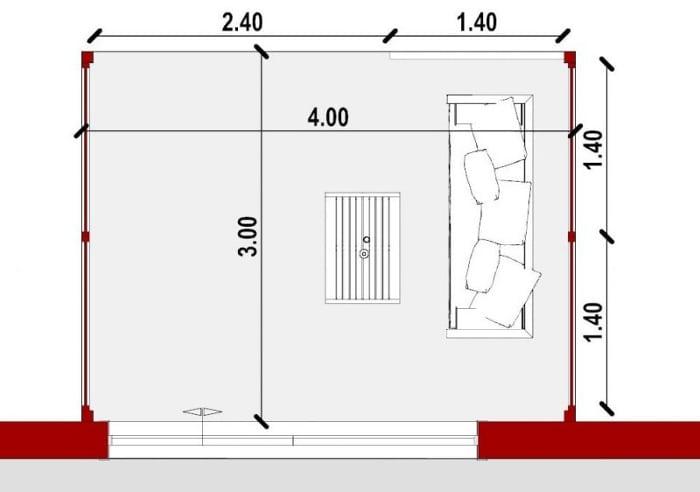 Conception d'un gazébo - vue en plan d'un auvent issu du logiciel BIM architecture Edificius