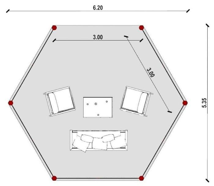 Conception d'un gazébo - vue en plan issu du logiciel BIM architecture Edificius