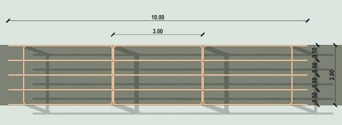 Conception d'un gazebo - vue en plan d'une pergola issu du logiciel BIM architecture Edificius