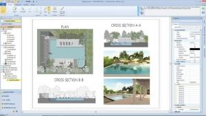 Conception de piscine -dessin du plan d'exécution issu entièrement du logiciel BIM Edificius