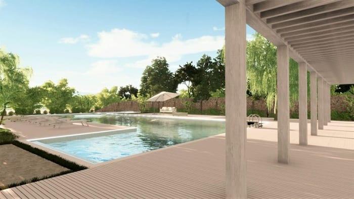 Conception de piscine -rendu du solarium issu du logiciel BIM d'architecture Edificius