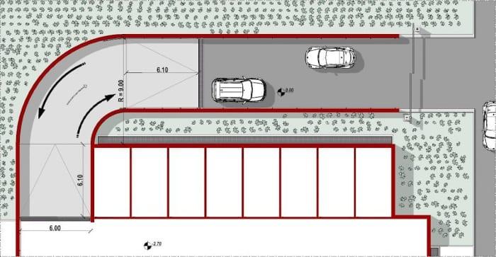 planimétrie projet rampe de garage - réalisée avec Edificius - logiciel BIM architecture