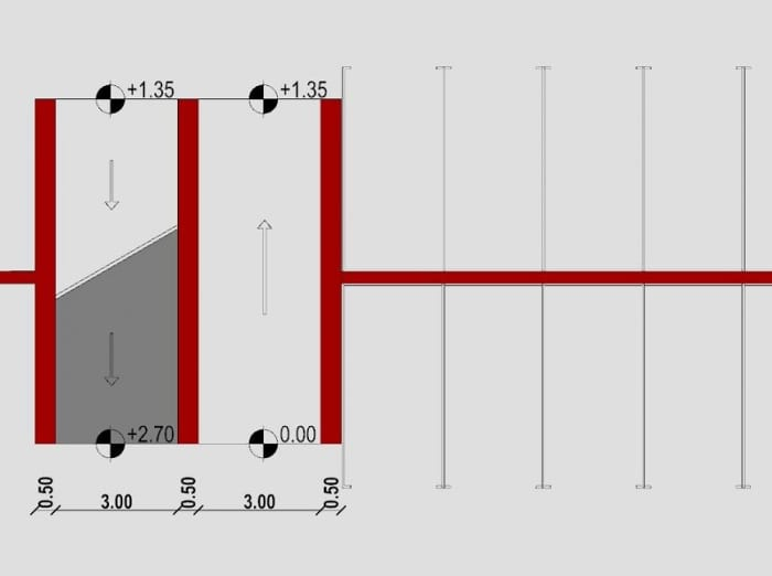 Conception de rampe d'accès de garage - rampe decallée - plan issu du logiciel BIM -d'architecture Edificius