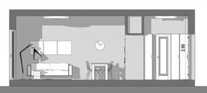 Conception d'un studio de 40 m2 - vue en coupe-a-a avec Edificius le logiciel BIM pour l'architecture