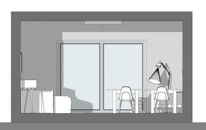 Conception d'un studio de 40m2 - vue en coupe-b-b avec Edificius le logiciel BIM pour l'architecture
