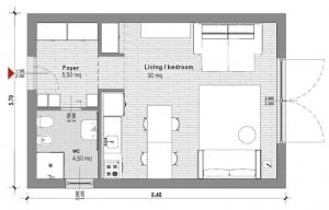 Conception d'un studio de 40 m2- vue en plan avec Edificius un logiciel BIM pour architecture
