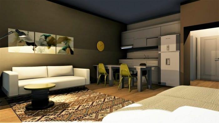 Conception d'un studio - rendu de la zone du salon avec Edificius le logiciel BIM pour l'architecture