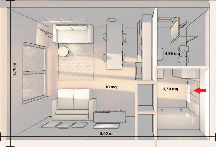 Conception d'un studio -rendu d'une vue en plan avec Edificius le logiciel BIM pour l'architecture