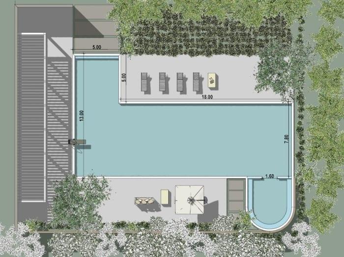 Vue aérienne: Piscine avec zone de relax - planimétrie issue du logiciel BIM architecture Edificius - Piscine et revetement du sol extérieur