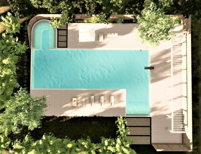 Piscine avec zone de relax - rendu issu du logiciel BIM architecture Edificius