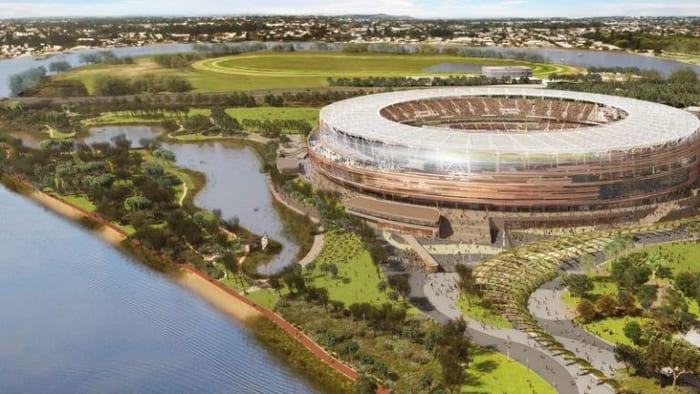 Le Rendu du Perth Stadium, Australie, réalisé avec un logiciel bim
