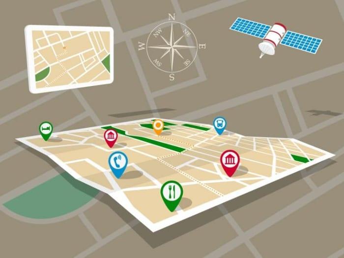 Infographique de la technologie SIG et de ses applications avec système GPS