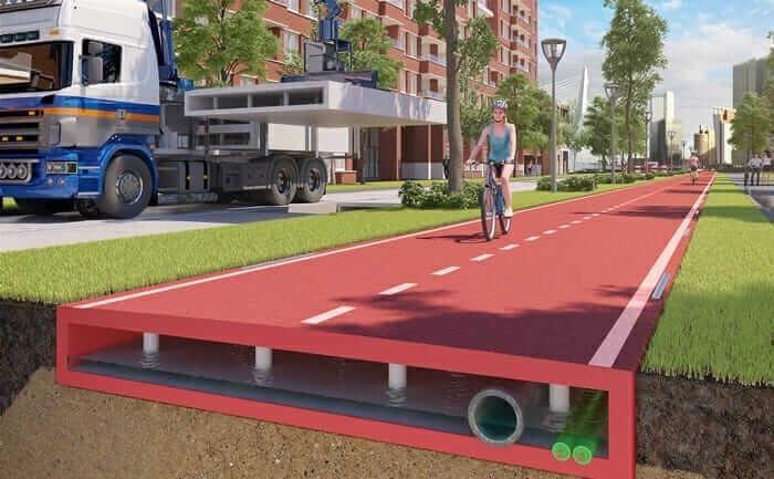 l'image représente un rendu d'aménagement urbain très moderne, l'image en question représente une piste cyclable construite avec un asphalte vert à développement durable et les fondations de la chaussée