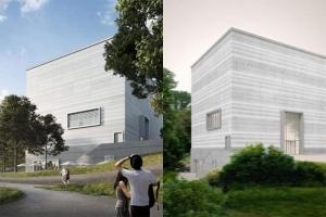 l image montre le musée de Bauhaus à Weimar depuis l'extérieur, on voit deux jeune gens qui admire le musée