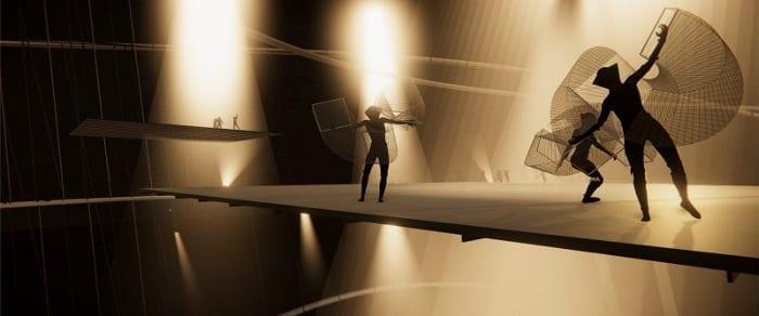 l'image en question représente une scène du spectacle réaliser pour les 100 ans du Bauhaus - plus précisément une chorégraphie dansante avec une femme dans des cerceaux qui tournent dans un décor très lunaires voiler sur en font de musique très tribale chanter en allemand