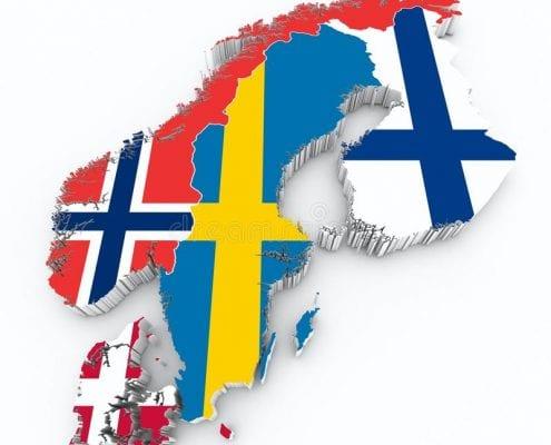 image qui représente des pays scandinave , dans l ordre suivant, Danemark, Norvège, Suède, Finlande