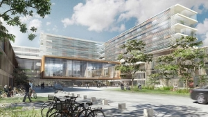un Rendu de l'University Hospital Aalborg au Danemark, avec une particularité des façades en verres du bâtiment