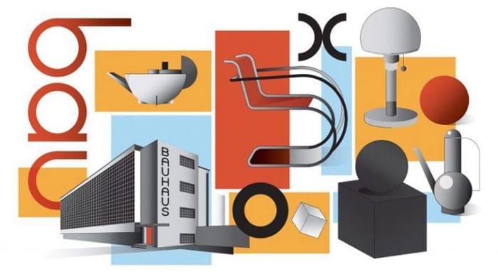 image inspiré des symboles de la Bauhaus – bâtiments de la Bauhaus, lampe, chaise, cafetière, tous se patchwork rappelle les dessins de Walter Gropius