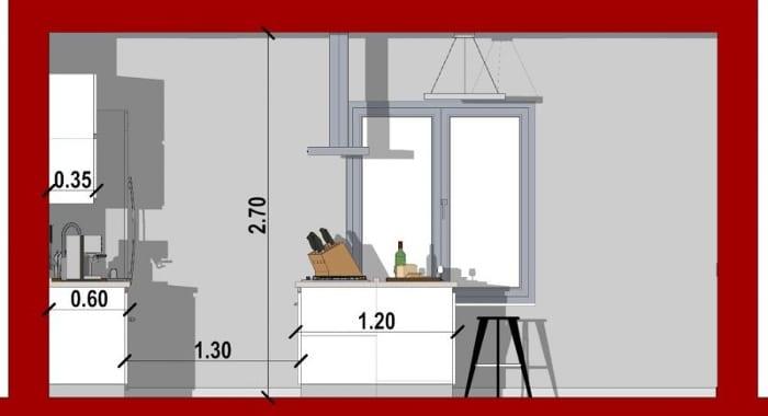 Conception d'une cuisine - vue en coupe d'une cuisine avec îlot et d'une hotte au dessus de l'îlot issu de Edificius le logiciel BIM pour l'architecture