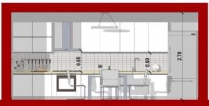 Conception d'une cuisine - vue en coupe d'une cuisine linéaire issu de Edificius le logiciel BIM pour l'architecture