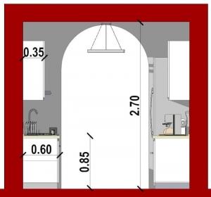 Conception d'une cuisine - vue en coupe d'une cuisine en parallèle issu de Edificius le logiciel BIM pour l'architecture
