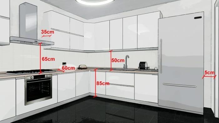 Conception d'une cuisine - vue d'un rendu indiquant les mesures du plan de travail au unités murale et de la distance du plan de travail à la hotte - rendu issu de Edificius le logiciel BIM pour l'architecture