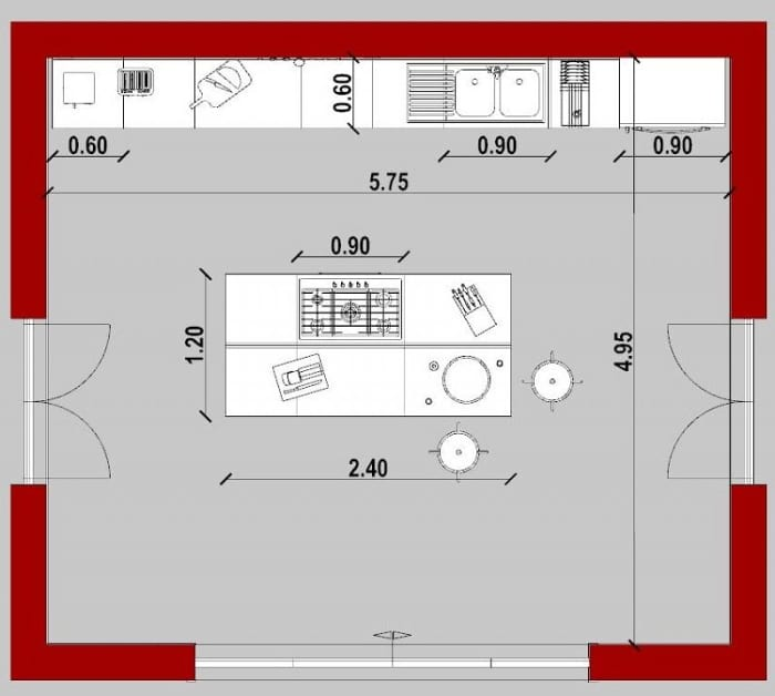 Conception d'une cuisine - vue en plan d'une cuisine avec îlot issu de Edificius le logiciel BIM pour l'architecture