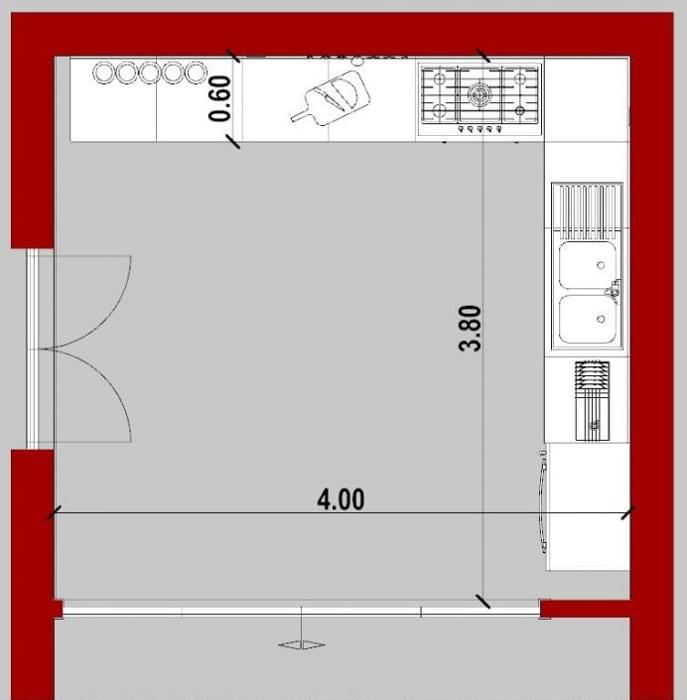 Conception d'une cuisine - vue en plan d'une cuisine angle issu de Edificius le logiciel BIM pour l'architecture