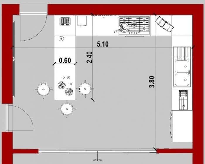 Conception d'une cuisine - vue en plan d'une cuisine avec péninsule issu de Edificius le logiciel BIM pour l'architecture