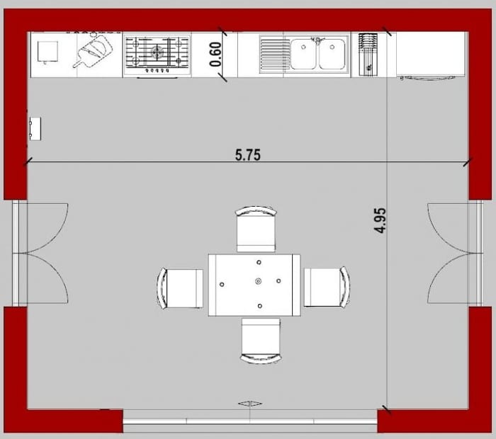 Conception d'une cuisine - vue en plan d'une cuisine linéaire appelée aussi cuisine en I - issu de Edificius le logiciel BIM pour l'architecture