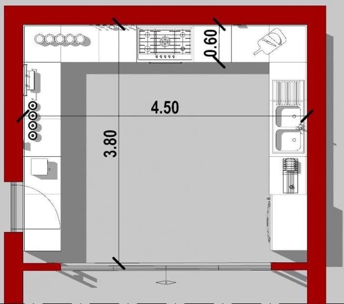 plan 2D d'une cuisine en C réalisé avec Edificius, logiciel de conception architecturale BIM