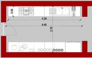 Conception-d'une cuisine - vue en plan d'une cuisine en parallèle issu de Edificius le logiciel BIM pour l'architecture