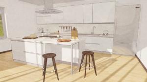 Conception d'une cuisine - rendu d'une cuisine avec un îlot issu de Edificius le logiciel BIM pour l'architecture
