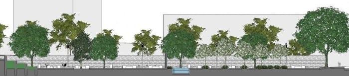 coupe A-A projet aménagement urbain réalisé avec logiciel de conception architecturale BIM