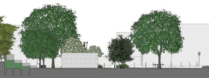 coupe B-B projet aménagement urbain réalisé avec logiciel de conception architecturale BIM
