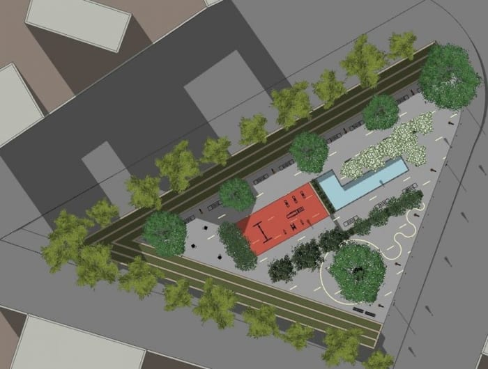 une vue planimétrique – l'image planimétrique montre la place en forme triangulaire avec sa fontaine et ses arbres