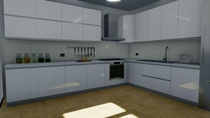 Image d'une cuisine à angle - rendu issu de Edificius le logiciel BIM pour l' architecture