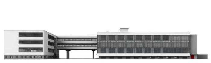 une image qui représente le bâtiments scolaire de bauhaus dans la ville de Dessau